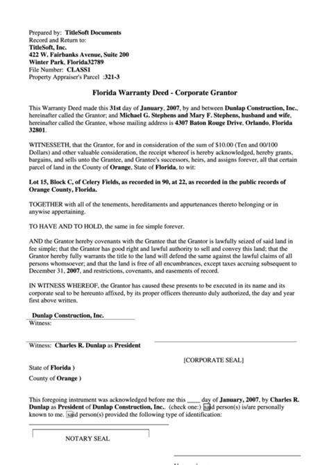 florida warranty deed form printable