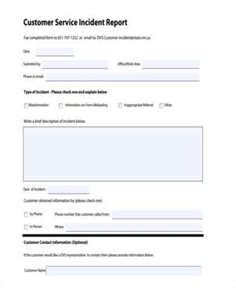 customer incident report form template customer incident form images