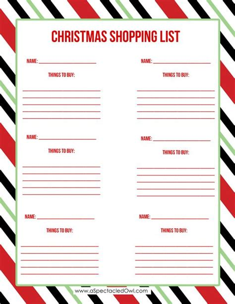 printable shopping list organizer christmas shopping list printable the o jays owl and