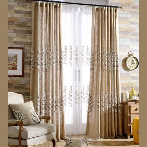 style of curtains for bedroom pastoral style camel tree embroidery linen and cotton