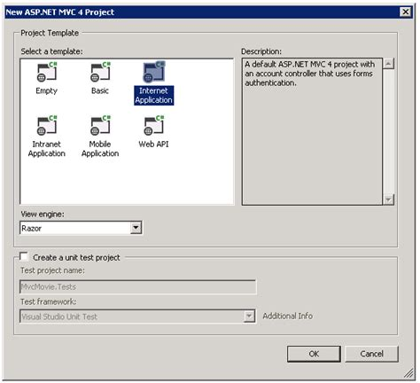 Intro To Asp Net Mvc 4 Microsoft Docs Asp Net Web Site Template Visual Studio 2012