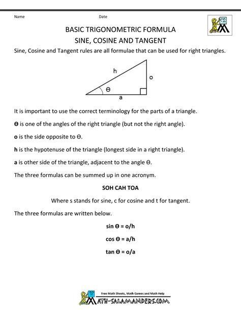 Sinus Formula sine cosine tangent worksheet lesupercoin printables