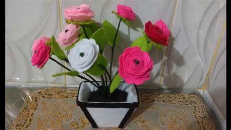 bahan  membuat bunga mawar  kain flanel