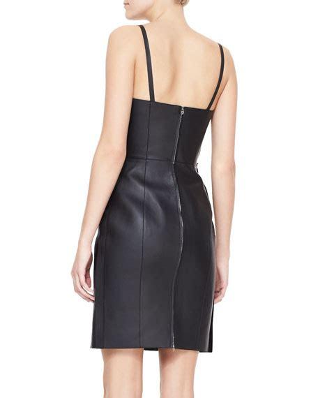 Accordion Spaghetti Dress wang accordion pleated leather dress black