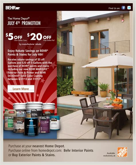 home depot 4th of july paint sale rebate july 4th promotion