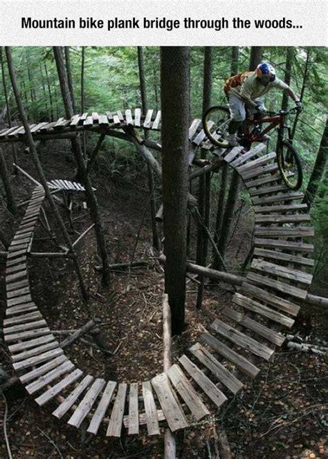 mountain bike plank bridge   woods pictures