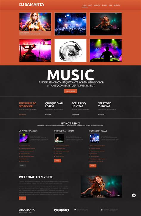 cute homepage themes mobile dj website templates bing images