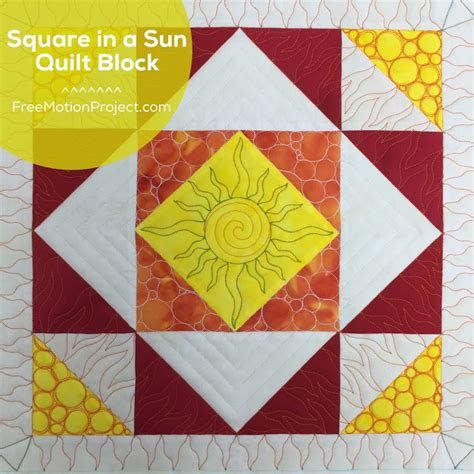 Sun Quilt Block by The Free Motion Quilting Project How To Quilt A Square In
