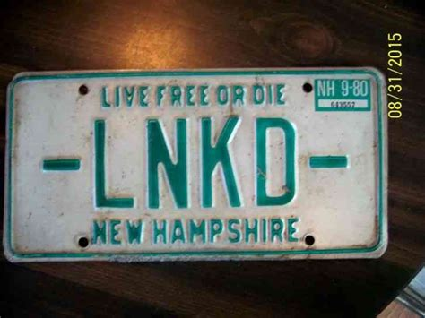 new hshire license plate lnkd vanity rat rod garage