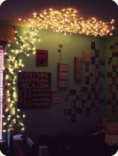 pretty bedroom lights string lights pinned to wall and ceiling lanterns