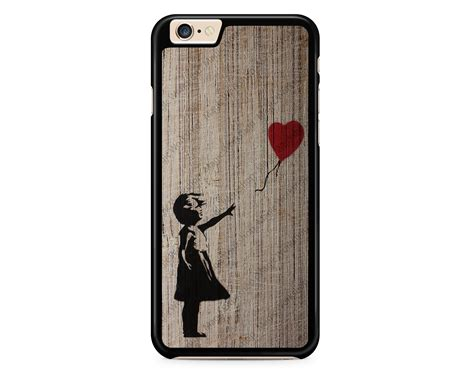 Wood Iphone 4 4s 5 5s with balloon on wood texture banksy for iphone