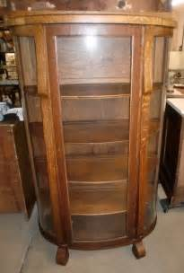 antique oak china cabinet curio cupboard curved glass