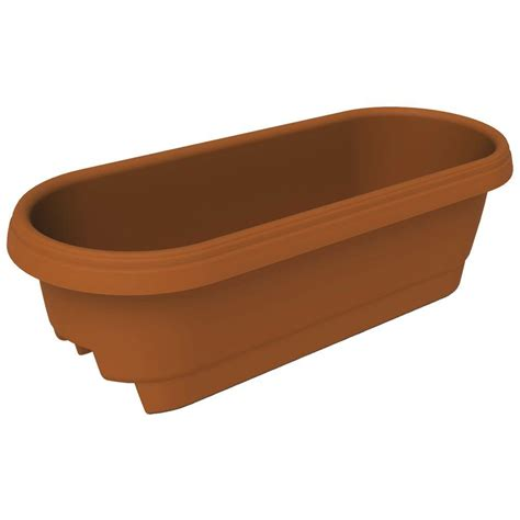 fiskars 22 9 in x 9 5 in clay plastic deck rail planter