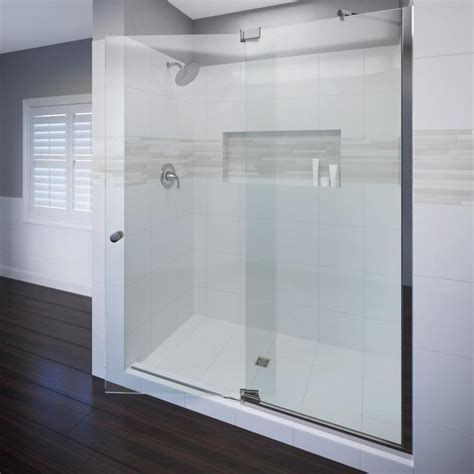 Frameless Pivot Bathtub Door by Shop Basco Cantour 32 In To 36 In Frameless Pivot Shower