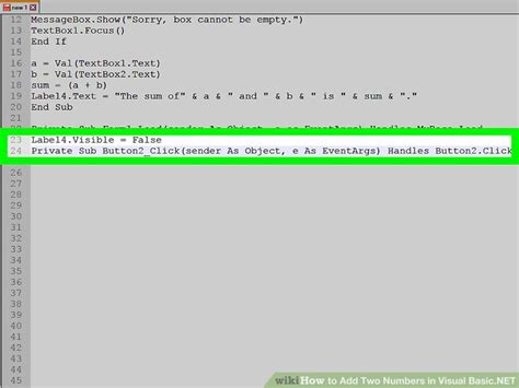 simple visual basic program to add two numbers how to add two numbers in visual basic net 14 steps