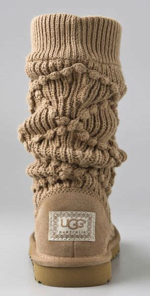 Classic Knit Brown ugg classic argyle knit boots in brown lyst