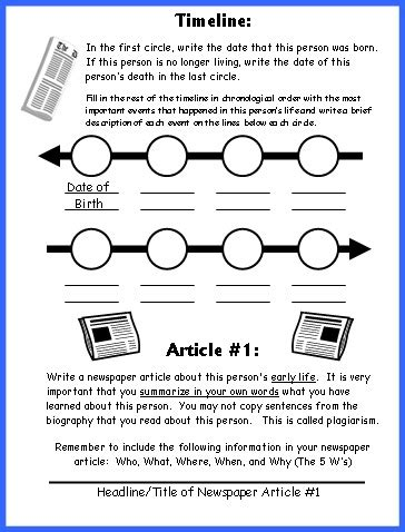 book report timeline biography book report newspaper templates printable