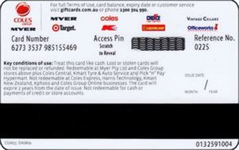 Myer Gift Cards Online - gift card coles group myer gift card coles cgm australia single design col