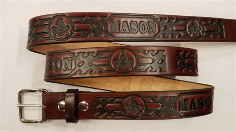 Handmade Belts Usa - embossed leather belt with basket weave leather