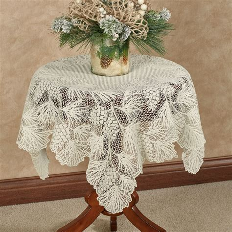 timberland pine cone lace square table topper