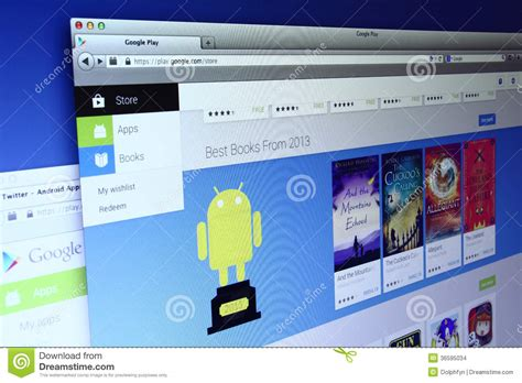 official android app store play webpage editorial stock image image 36595034