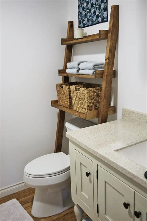Over The Toilet Ladder | ana white over the toilet storage leaning bathroom