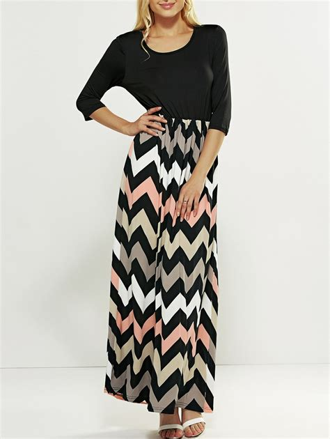 Zigzag Maxi Dress zig zag striped maxi dress black xl in maxi dresses