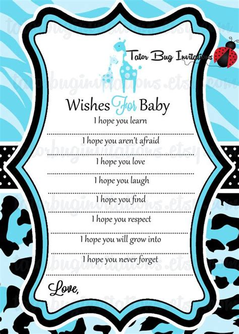 wishes for baby template printable baby safari quot wishes for baby quot advice template
