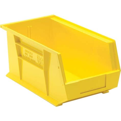 organization bins edsal 3 4 gal stackable plastic storage bin in yellow 12
