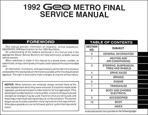 service manual how to build a 1992 geo tracker connect 1992 geo metro repair shop manual original