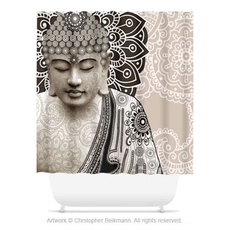 buddha shower curtain paisley buddha shower curtain tan and brown buddhist bath