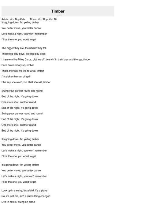 swing your partner round and round lyrics timber lyrics kidz bop kids