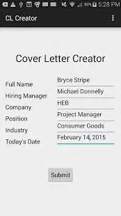 cover letter creator cover letter creator apk free business apps for android