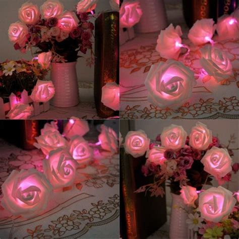 20 LED Pink Battery Operated Rose bud String Curtain Light