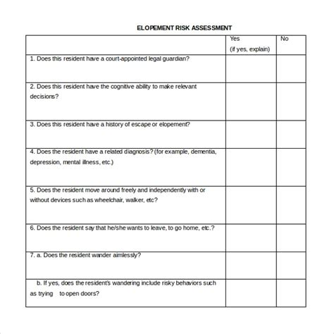 Sle Risk Assessment Forms 10 Free Documents In Pdf Word Care Home Risk Assessment Template