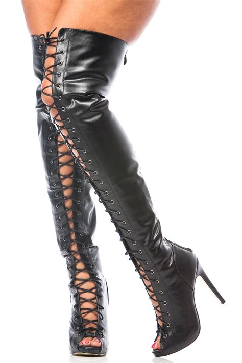thigh high leather boots black faux leather thigh high lace up boots cicihot