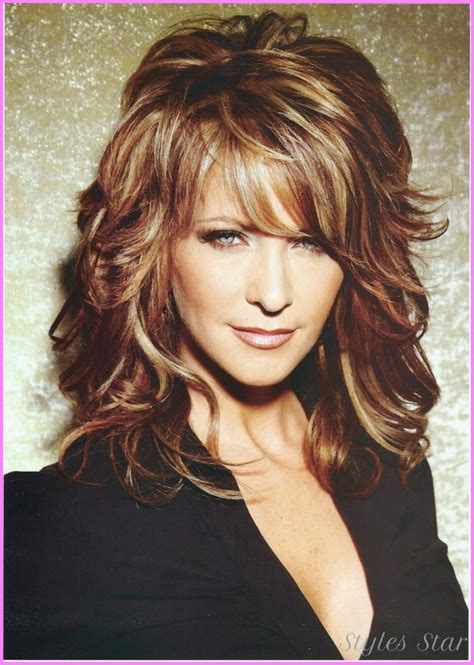 curly hairstyles with long bangs long curly haircuts with layers and bangs stylesstar com