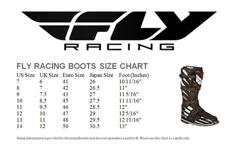 motocross boot sizing fly racing boot size chart the honda shop