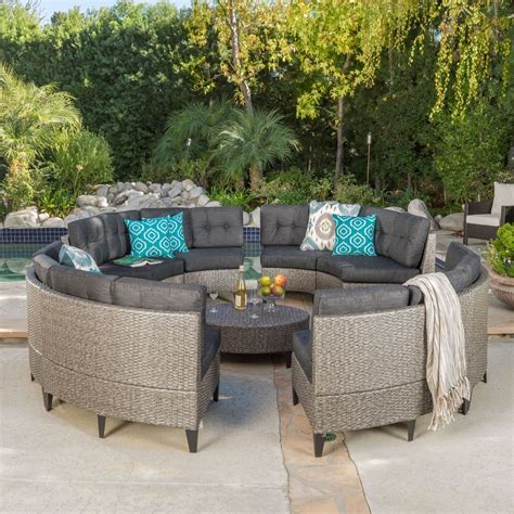 Wicker Patio Furniture Sets Clearance Currituck Outdoor Wicker Patio Furniture Black Circular Set For Sale Clearance Endearing