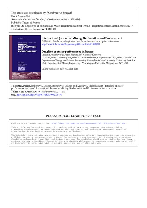 Dragline Operator by Dragline Operator Performance Indicator Pdf Available