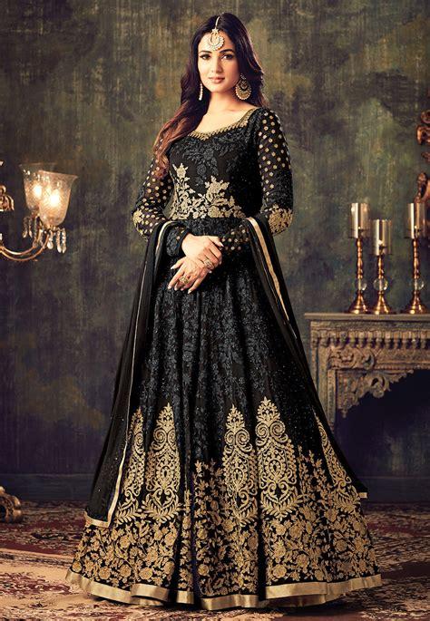 Indian Black Dress embroidered georgette abaya style kameez in black kch738