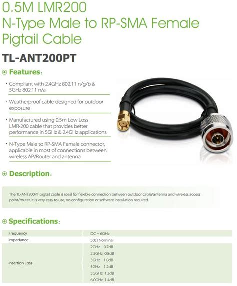 Tl Ant200pt 05m Lmr200 N Type To Rp Sma Pigtail Cable tp link tl ant200pt 0 5m lmr200 n type to rp sma