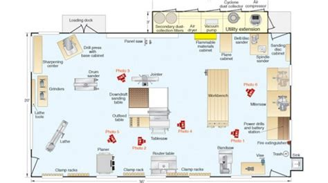 layout of workshop woodworking shop in basement