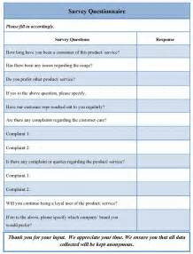 Questionair Template by Survey Questionnaire Template Sle Templates