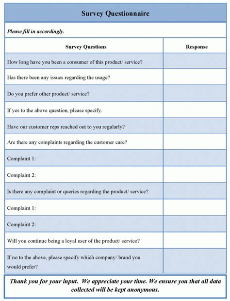Website Survey Questionnaire - survey questionnaire template sle templates