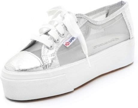 superga sneakers silver superga platform net sneakers in silver lyst