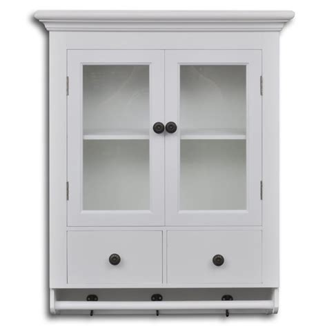 Wall Kitchen Cabinets With Glass Doors Vidaxl Co Uk White Wooden Kitchen Wall Cabinet With Glass Door