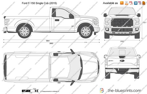 F Drawings Blueprints by Ford F 150 Single Cab Vector Drawing