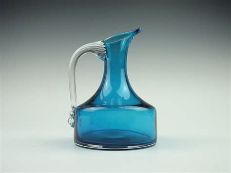 whitefriars glass glass pottery glass 9718 whitefriars kingfisher blue glass jug whitefriars