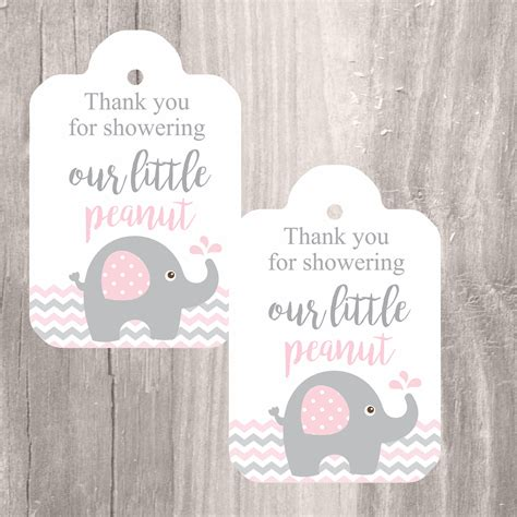 printable thank you tags for baby shower printable elephant baby shower favor tags pink and grey